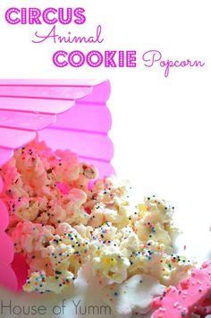 Fairy Dusted Circus Animal Cookie Popcorn.  Perfect snack for kids!