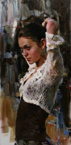 Artist: Michael Garmash, Ukraine {contemporary figurative beautiful female brunette woman portrait profile torso painting}