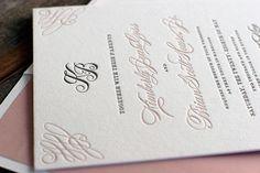Calligraphy elegance on this letterpress wedding invitation by Bella Figura