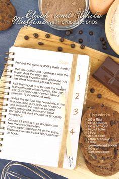 """Black and White Muffins with chocolate chips"" recipe You can find it here [http://noodloves.it/muffin-con-scaglie-di-cioccolato-morbidissimi-black-white/]"