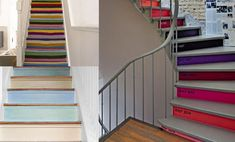 How to decorate stairs and landing decorating ideas for amusing hall small hallway decoration image idea stairway wall art Painted Staircases, Painted Stairs, Staircase Painting, Stairway Wall Art, Stair Layout, Architecture Design, Timber Stair, Stair Decor, Diy Stair
