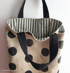 Hand block printed designer linen tote bag - polka dots and stripes Drawstring Bag Diy, Reusable Tote Bags, Japan Bag, Tote Bags Handmade, Striped Bags, Jute Bags, Printed Linen, Leather Jewelry, Bag Making