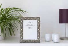 Photo Frame Mockup  for your artwork, photos, text or design with tutorial on how to use by Marie Mathilda's Shop on @creativemarket