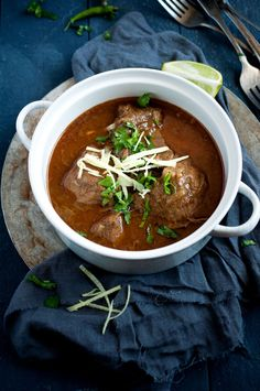 Nihari is a beef stew popular in the northern region of India, Pakistan, and Bangladesh. Nothing tastes better than aromatic and spice-laden beef stew where the meat is so tender it falls off the bone. Worth the effort!