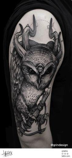Robert Borbas Tattoo   @ grindesign - Evil Owl, for Palcsi #neotraditional #surrealism #halfsleeve