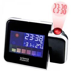 Auf einen Blick, top informiert in den Tag! Elektronische Wettervorhersage; Projektionsuhr; Innen Themometer und Hygrometer.