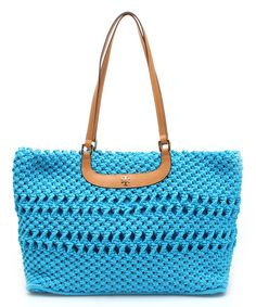 Look at this Tory Burch Tahitian Turquoise Dawson Tote on #zulily today!