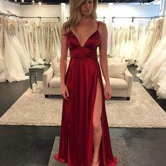 Sexy Prom Dresses,Spaghetti Straps Prom Dresses,Split Prom Dresses,Satin Long Prom Dresses, Evening Dresses#SIMIBridal #promdresses