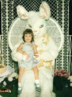 Didn't anyone notice the leg of a child before they handed another child to this scary bunny? Is everyone possessed?