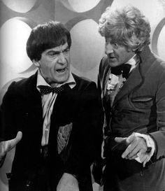 "Doctor Who: Patrick Troughton (2nd Doctor) and Jon Pertwee (3rd Doctor)  in a photo still from the production of the Doctor Who Tenth anniversary episode of ""The Three Doctors""."