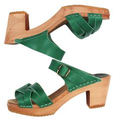 995 high plait sandal vegie dyed green - clogs & sandals