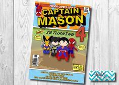 Comic Superhero Birthday Invitation MellysHandmades on Etsy