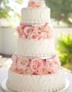 White and pink rose wedding cake xo <3