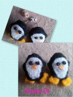 Pingü Hechos de fieltro y bordados a mano.