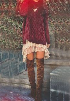 Wine Red Plain Irregular Pullover