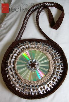 Crocheted Purse with recycled cd and pop tabs