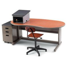 """30""""D x 60""""W x 24""""-36""""H Acrobat Rectangle Instructor Desk - Grey Nebula Top/Blueberry Edge/Platinum Frame by Smith System. $517.86. The solid design of the Acrobat Teacher Desk has been proven in classroom after classroom across America. What makes it so appealing are the ergonomic details teachers enjoy--from the rounded corners on both the work surface and edge bumper to the height adjustment. Two new shapes that offer additional functionality--the peninsula and th..."""