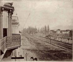 Panorámica de la antigua Alameda, desde el balcón de la casa Meiggs. Santiago c1860. Vía: Santiago Nostalgico.