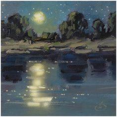 NOCTURNE, $1 TOM BROWN ORIGINAL OIL PAINTING, SUMMER STUDIO SALE, painting by artist Tom Brown