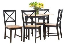 Target Marketing Systems 5 Piece Virginia Dining Set with 4 Chairs and a Double Drop Leaf Table BlackNatural -- Read more reviews of the product by visiting the link on the image.Note:It is affiliate link to Amazon.