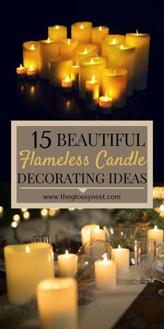 Awesome decorating ideas using flameless candles for your living room, bedroom, dining room, front porch & home. Impress your house guests with these creative, romantic & fun DIY LED candle centerpiec Flameless Candles, Led Candles, Ideas Candles, Candle Centerpieces For Home, Candle Decorations, Living Room Candles, Deco Led, Romantic Candles, Romantic Ideas