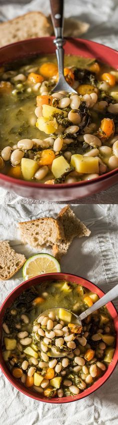 Tuscan Bean Soup is the best comforting meal on chilly days. A vegan recipe and amazingly flavorsome as it is loaded with wonderful vegetables. Ready in 30 min! - http://giverecipe.com