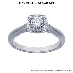 CC-30671     14K White Gold .25-Ct Round Semi-Mount Halo Ring Mounting                          CC-30671 by CedarCreekCanada on Etsy