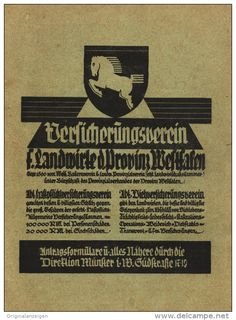 Original-Werbung/ Anzeige 1931 - 1/1-SEITE - VERSICHERUNGSVEREIN FÜR LANDWIRTE DER PROVINZ WESTFALEN  ca. 160 x 220 mm