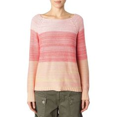 Sanctuary Linen-Blend Ombre Sweater ($49) ❤ liked on Polyvore featuring tops, sweaters, pink, red top, red sweater, red long sleeve top, pink long sleeve top and pink top