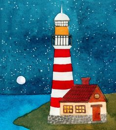 wtaercolor on paper Art Drawings For Kids, Drawing For Kids, Easy Drawings, Art For Kids, Lighthouse Painting, Naive Art, Painting Patterns, Whimsical Art, Art Blog