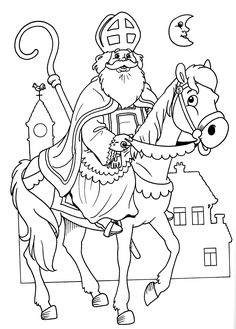 Santa& nicholas coloring page Coloring Pages For Grown Ups, Coloring Pages For Kids, Coloring Sheets, Coloring Books, Christmas Crafts For Kids, Simple Christmas, Primitive Colors, St Nicholas Day, Mary And Martha