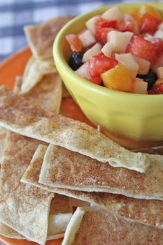 cinnamon chips and fruit salsa