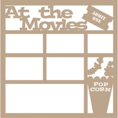 At the Movies - 12 x 12 Scrapbook Overlay Laser Die Cut