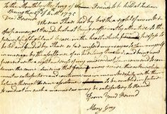 Manuscript letter of acknowledgment of Mary Gray to Indian Spring Meeting in 1795