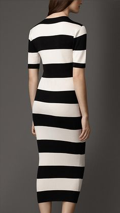 Burberry Black/White Striped Silk Dress - An effortless soft silk dress in a striped print. Tailored for a feminine close fit, the skirt is crafted in ribbed stretch silk. Short turnback sleeves complete the design. Discover the women's dress collection at Burberry.com