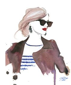 Aquarell Mode-Illustration  der Prep-print von JessicaIllustration
