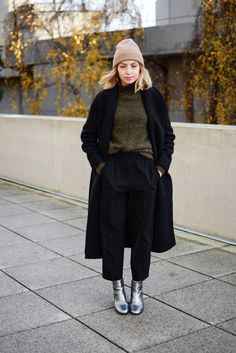 Silver Boots | Black Trousers | Olive Sweater