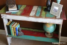 Recycle pallet  table idea.  (projects, crafts, DIY, do it yourself, interior design, home decor, fun, creative, uses, use, ideas, inspiration, 3R's, reduce, reuse, recycle, used, upcycle, repurpose, handmade, homemade, materials, create, wood, wooden, salvaged, reclaimed)