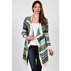 HOLIDAY SALETribal Print Cascade Open Cardigan Tribal print cascade knit longline open cardigan. 65% cotton 35% polyester. Comment with your size when you're ready to purchase  Sweaters Cardigans