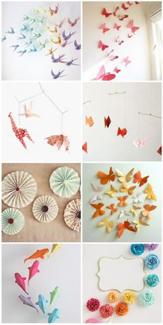 Pastel paper decor... other thigns we could hang over her crib or from the ceiling :)
