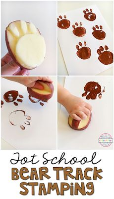 Fun and easy Bear Track Stamping with a paw shape potato stamper. Perfect for to… Fun and easy Bear Track Stamping with a paw shape potato stamper. Perfect for tot school, preschool, or the kindergarten classroom. Bears Preschool, Preschool Themes, Preschool Activities, Preschool Camping Theme, Camping Theme Crafts, Fairy Tale Activities, Daycare Crafts, Toddler Crafts, Toddler Activities