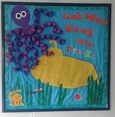 Inter American Academy Welcome Bulletin Board! – Inspired by other pins I saw, one had the cool idea of the sub w the kids's pictures! Octopus was easy, but it took awhile. Preschool Welcome Board, Preschool Bulletin Boards, Preschool Classroom, Classroom Themes, Preschool Activities, Preschool Decor, Preschool Centers, Toddler Classroom, Classroom Door