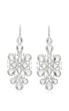 18K White Gold Rose Cut Diamond, Blue Moonstone, And Diamond Pave Earrings by Nina Runsdorf - Spring-Summer 2015 (=)