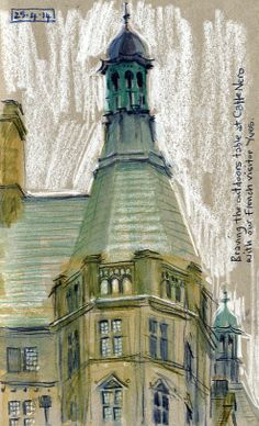 Sheffield Town Hall - Inktense watercolour pencils and white chalk, sketched in a grey paper, Strathmore sketchbook. Lynne Chapman