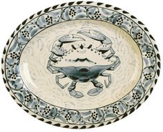"""Blue Crab Bay - 15"""" Stoneware Oval Platter Designed By Artisan José Dovis by Blue Crab Bay. $49.99. Microwave- and dishwasher-safe. 15"""" Oval Platter. Designed by an Eastern Shore artisan José Dovis. Lead-free and oven-safe to 400°F. Blue Crab Stoneware by Dovis Designs is produced and hand-painted in Thailand exclusively for Blue Crab Bay Co. The stoneware is lead-free as well as microwave- and dishwasher-safe. It is also oven-safe to 400°F."""