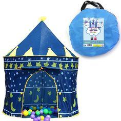 Children Play Tent Boys Girls Prince House Indoor Outdoor Blue Foldable Tent with Case by Creatov. OUR PLAY TENTS ARE 100% SAFE FOR KIDS- This blue castle is 100% Safe for kids. There are two windows that provide ventaliation so there is a steady airflow and a large opening as well. SETUP IN MINUTES: Setting Up this Play Tent is a fast and easy process that does not take longer than a few minutes. With that short a time you can focus on getting back to whatever daily chores you have while...