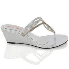 d2678b4ac280d4 Essex Glam Womens Diamante Wedge Heel Synthetic Toe Post Sandals -- Visit  the image link more details.