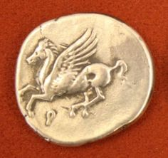 The first ancient Greek coins were minted in Aegina from 560 BCE, and then Athens and Corinth also began their own coin production shortly after. Ancient Aliens, Ancient History, European History, American History, History Encyclopedia, Winged Horse, Coin Design, Athena Goddess, Greek Art