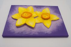 """""""2 Daffs"""" 3D Acrylic Painting FOR SALE contact info@purplefaye.co.uk to buy or commission your own Canvas Size 12″x16″ (305mmx406mm) Image Depth 35mm"""
