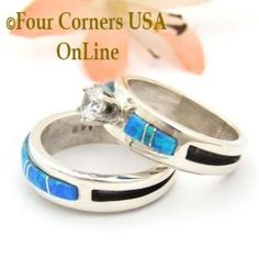 Four Corners USA Online - Size 6 1/2 Engagement Bridal Wedding Ring Set Blue Fire Opal Native American Silver Jewelry WS-1571, $240.00 (http://stores.fourcornersusaonline.com/size-6-1-2-engagement-bridal-wedding-ring-set-blue-fire-opal-native-american-silver-jewelry-ws-1571/)